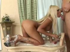 Astonishing blondie Adriana Russo gets her anus drilled toughly