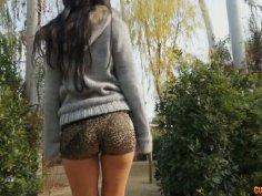 Skinny and sweet brunette babe sucks dick of a total stranger