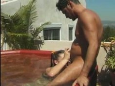 Wet girlie with pigtails Myreii gets her twat banged doggy near the pool