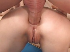 Angel is moaning lustily from dudes anal flogging