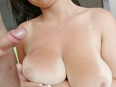 Prime Cups Hot sperm shower on busty gal Claudias chest