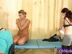 Hot blonde and sexy brunette at the doctor