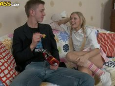 Cute blonde babe seduces a guy and gets her tasty cooch eaten dry