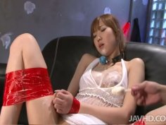 Kinky bounded slut Chisato Mukai gets her hairy pussy smeared with ice cream