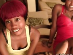 African babes get their pussies drilled in a hot threesome