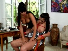 Well stacked Latin hussy gets tied to chair for an intensive tongue fuck by aroused domina