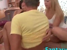 FantasyHD two girls, double blowjob