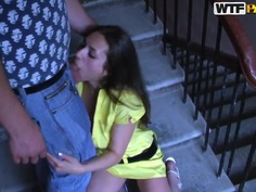 Pretty brunette Joana does blowjob on staircase