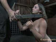 Bootylicious babe is ordered to suck a fat cock while locked in the pillory
