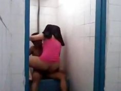 Hijab wearing Malaysian girl rides a cock in public bathroom