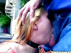 Stacked blonde whore gags on two dicks and gets double penetrated