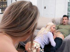 Blissfully Buxom stepma Shea loves FFM Threesomes