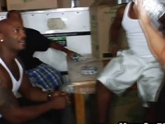 Horny black guys from moving services bang sexy brunette MILF in a truck