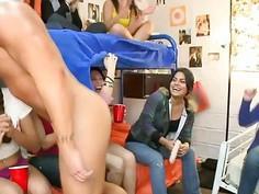 Horny College girls stroking big dicks deep throat