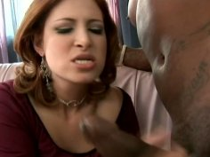 Ginger Blaze opens her legs wide and gets her pussy fucked by BBC