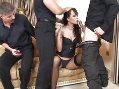 Hot Euro girl taking on 3 big fat cocks