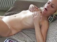 Tattooed lesbian fucking with older one