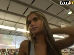 Hot blond slut Nessa Devil being fucked in a public shopping mall