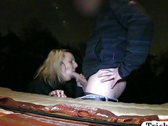 Sexy amateur blonde passenger screwed by fake driver