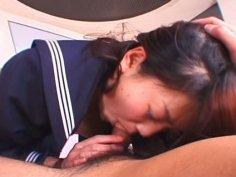 Salty Japanese chic Misa Kashiwagi gets her bushy twat poked with dildo