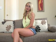 Torrid and gorgeous blondie jams her tits and pleases her cunt