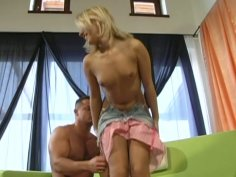 Cute blondie Monica Breeze bows her head above the cock for sucking it