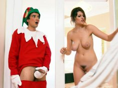 Michele James caught XXXmas elf jering on her