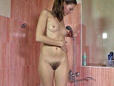 Hairy model masturbating in the shower