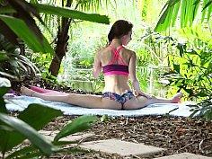 Naked yoga masturbation session