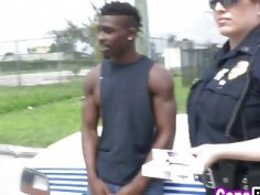 Nasty cops abusing black smuggler dong in truck