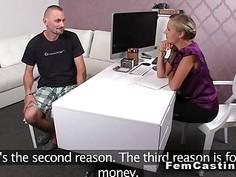 Bisexual guy and female agent masturbate