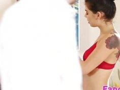 Tattoed masseuse Gina Valentina gets hammered hard by Seths big cock