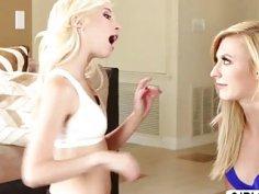 Flexible blonde teens Piper Perri and Alexa Grace initiate lesbian sex and licks pussies