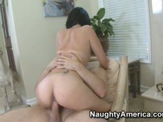 Nasty teen Evelyn Lin fiercely rides on cock