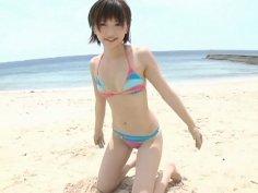 Pale skinny sexy model Ryoko Tanaka has some fun on the beach