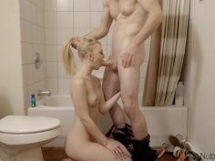 Pale blonde teen got her shaved pussy smashed in bathroom