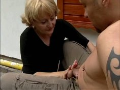 Short haired blond slut Rita rides a dick right in her yard