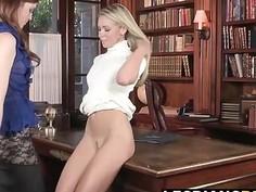 Horny lady boss loves to lick secretary boobs and pussy