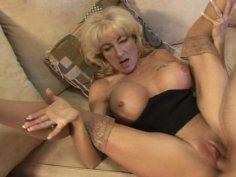 Busty cougar Lexi Carrington is fucking passionately upskirt
