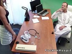 Busty brunette fucks doctor for a nurse job