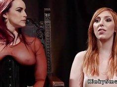 Busty mistress anal breaks redhead slave