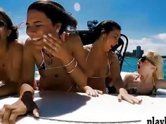 College teen babes pounded by pervert man on speedboat