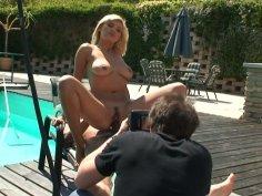 Slutty girlie Emanuel Tilly rides a cock on camera